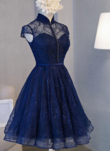 Beautiful Navy Blue Knee Length Party Dress