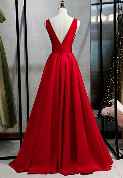 Charming Red Satin V-neckline Long Prom Dress 2020, Red Junior Prom Dress