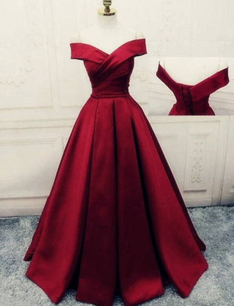 Charming Dark Red Satin A-line Off Shoulder Gown, Prom Dress 2020