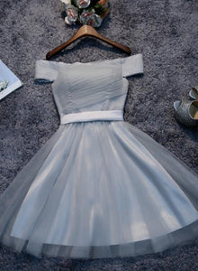 Simple Short Tulle Off Shoulder Party Dress, Homecoming Dress
