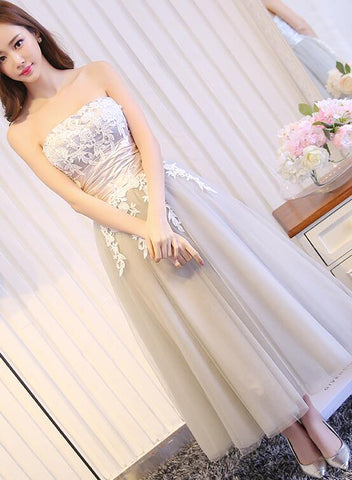 Elegant Vintage Style Tea Length Grey Bridesmaid Dress, Tulle Party Dress