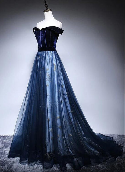 Beautiful Navy Blue Tulle and Velvet Long Party Dress, Off Shoulder Prom Dress 2020