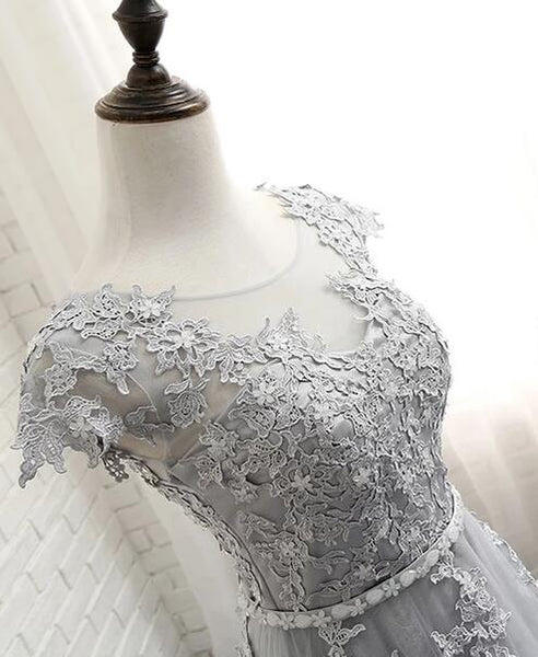 Charming Light Grey Lace Applique Long Party Dress, Cap Sleeves Prom Dress 2020