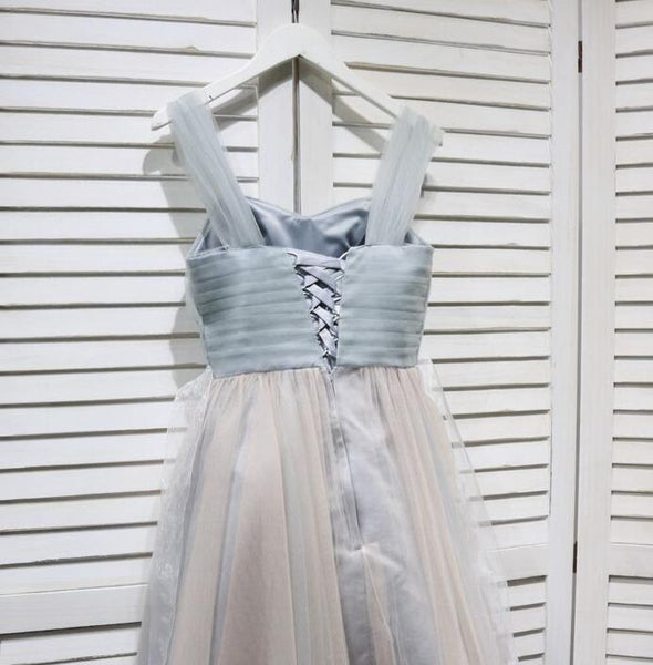 Lovely Grey Tulle Straps Short Wedding Party Dress, Grey Prom Dress