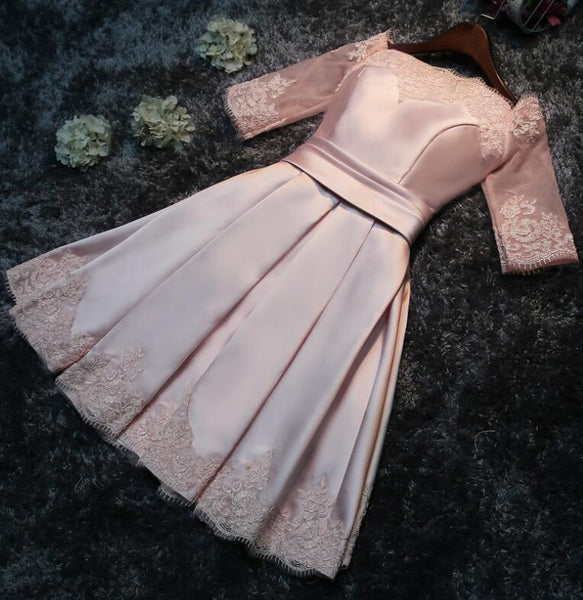 Charming Satin A-line Pink Short Party Dress, Cute Prom Dress 2020