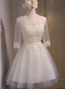 Cute Short Tulle Bridesmaid Dress with Lace Applique, Champagne Prom Dress
