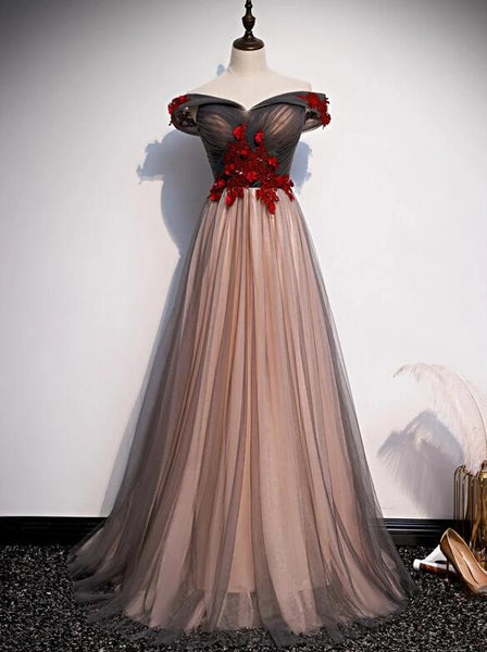 New Style Tulle Ruched Embellished Prom Dress, Long Party Dress 2020