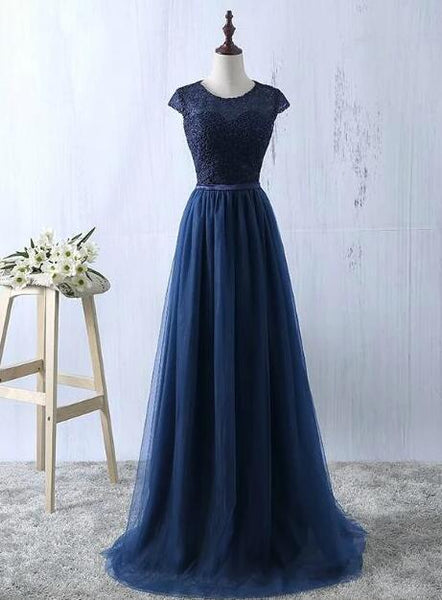 Charming Navy blue Long Bridesmaid Dress, A-line Prom Dress