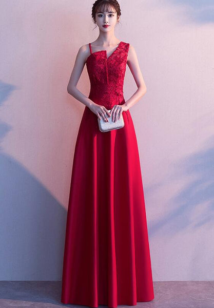 Beautiful Red One Shoulder Lace Top Long Wedding Party Dress,Party Dress 2020