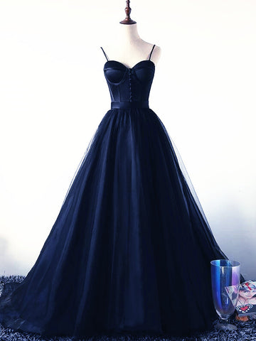 Charming Navy Blue Tulle and Satin Straps Long Party Dress, Navy Blue Prom Dress