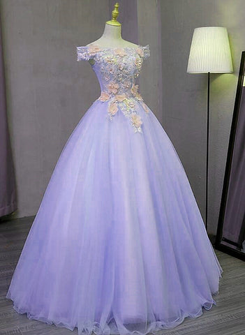 Gorgeous Light Purple Tulle Long Off Shoulder Party Dress, Sweet 16 Dress