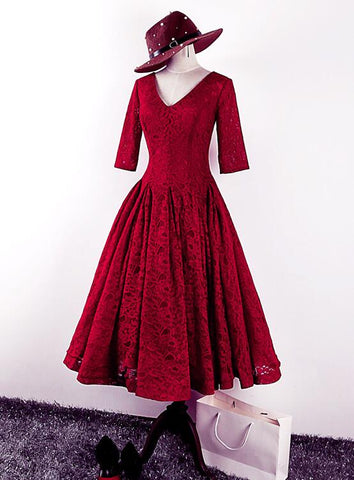wine red lace bridesmaid dress
