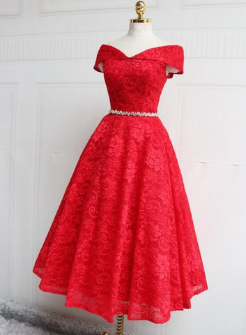 red lace prom dress 2020