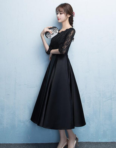Lovely Black Satin Bridesmaid Dress, Tea Length Prom Dress