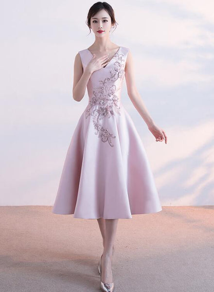 Lovely Pink Satin Tea Length Party Dress, Pink Homecoming Dress