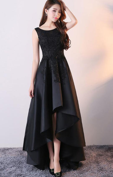 Black Satin with Lace High Low Prom Dress, Fashionable Homecoming Dress