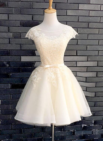 Lovely Champagne Short Tulle Party Dress, Cap Sleeves Homecoming Dress