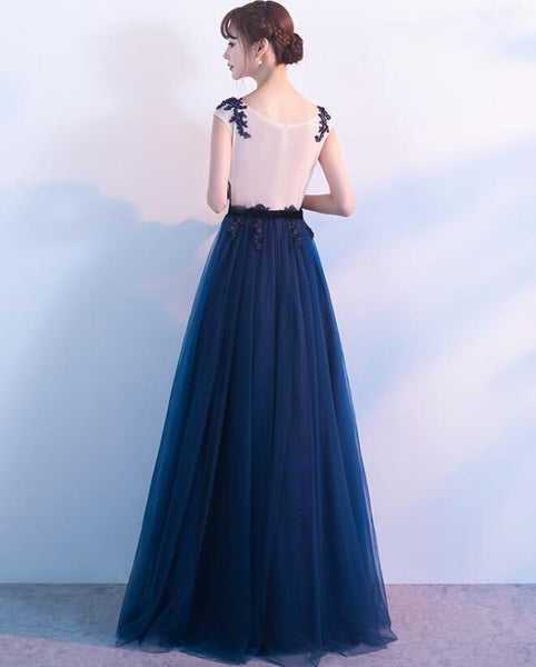 Pretty Navy Blue Tulle Long Party Dress with Lace, Blue Prom Dress