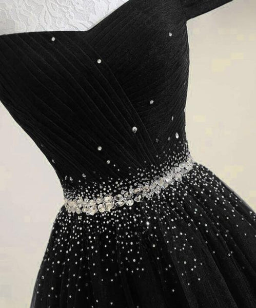 Beautiful Black Tulle A-line Party Gown, Black Long Prom Dress 2020