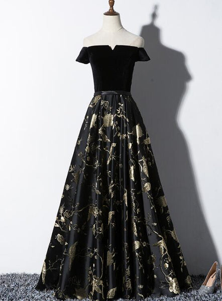 Black Satin Floral with Velvet Long Prom Dress,  Bridesmaid Dress 2020