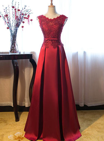 dark red satin prom dress
