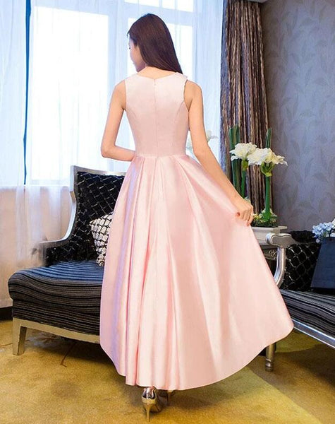 Beautiful Pink Satin High Low Round Neckline Prom Dress, Pink Formal Dress 2020