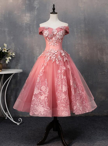 Cute Pink Tulle Off Shoulder Party Dress, Homecoming Dress 2020