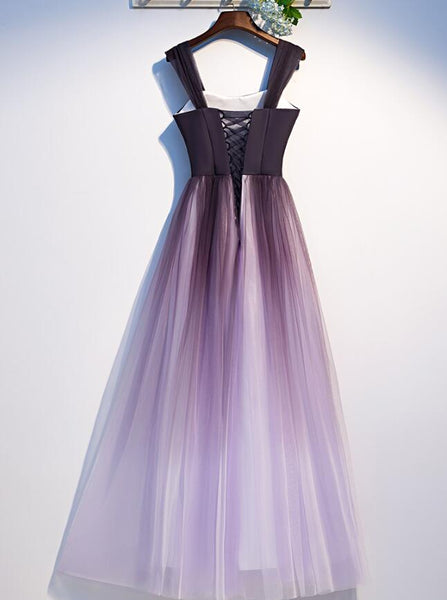 Charming Gradient Tulle Straps Long Party Dress,A-line Prom Dress