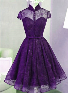 Cute Purple Lace High Neckline Short Party Dress, Lace Prom Dress