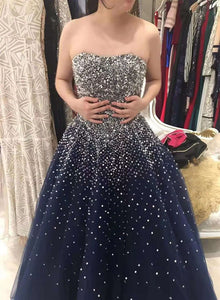 Gorgeous Soarkle Navy Blue Long Party Gown, Handmade Sweet 16 Dress