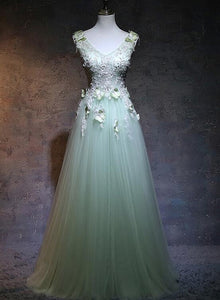 light green tulle long prom dress