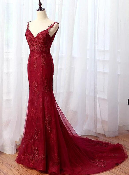 Elegant Burgundy Mermaid Lace Prom Dresses, Wine Red Evening Gowns