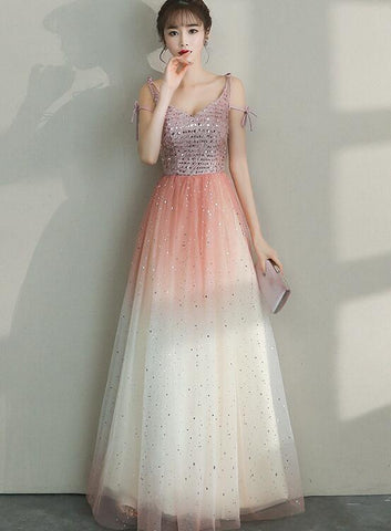 Lovely Tulle Gradient Long Straps Party Dress, Women Formal Dress