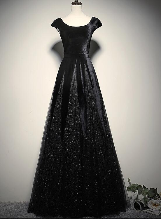 Elegant Black Velvet Cap Sleeves Evening Dress, Black Prom Dress