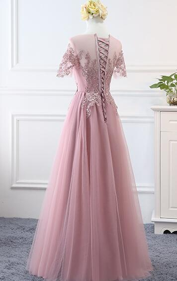 Fashionable Pink Tulle Long Bridesmaid Dress, Short Sleeves Party Dress
