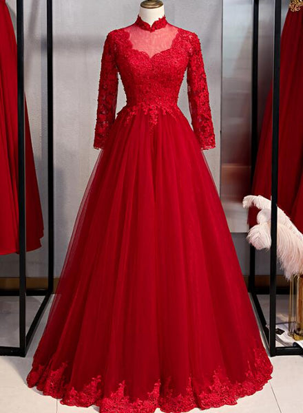 Gorgeous Red Long Sleeves Tulle Prom Dress, Red Formal Gown