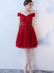 Lovely Dark Red Tulle Short Homecoming Dress, Wine Red Prom Dress