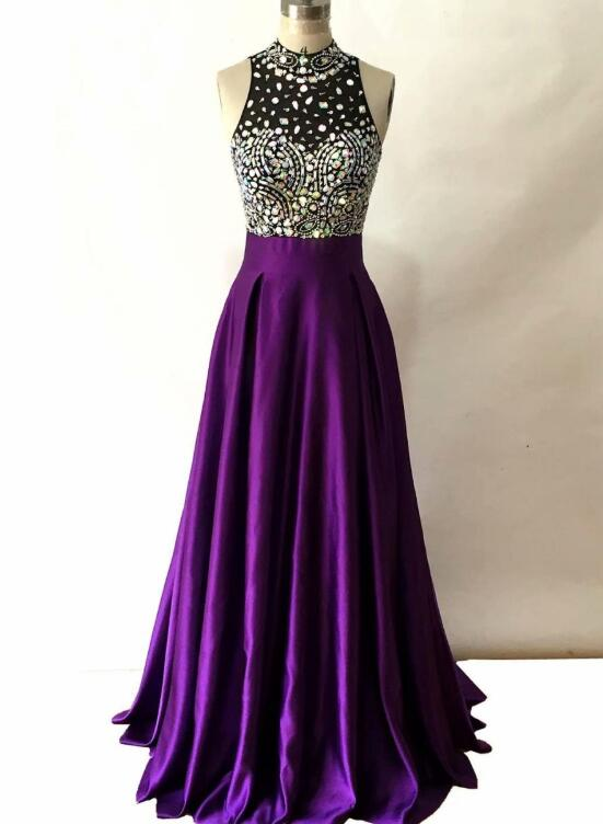 Beautiful Beaded Round Neckline Purple Long Prom Dress, Evening Gown