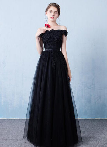 Black Off the Shoulder Tulle A-line Prom Dress, New Formal Gown