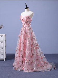 Pink Long A-line Flowers Evening Dress, Pink Party Dress Prom Dress