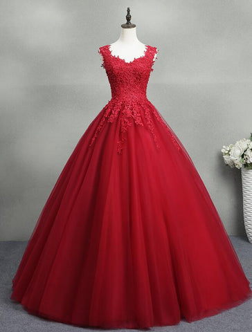 Gorgeous Red Ball Gown Sweet 16 Gown, Red Tulle with Lace Applique Party Dresses