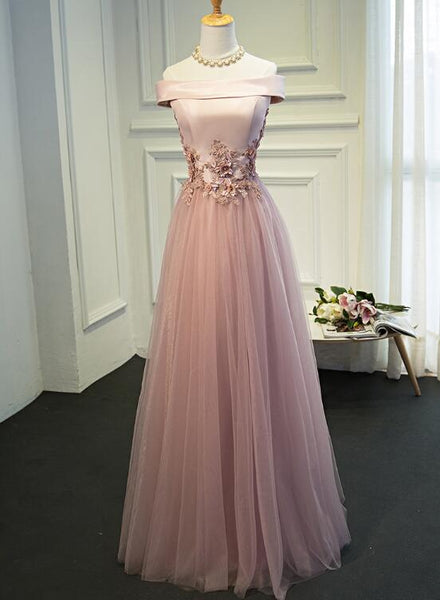 Elegant Dark Pink Satin and Tulle Long Wedding Party Dress, Off Shoulder Prom Dress