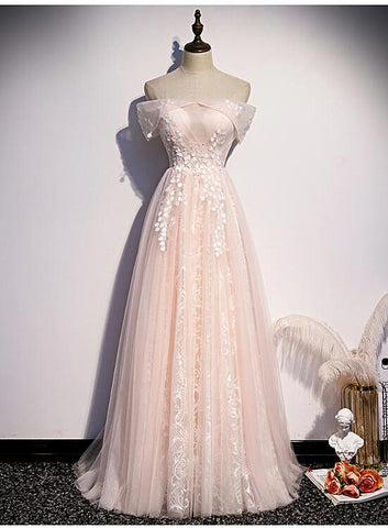 Long Pink Off Shoulder A-line Prom Dress with Lace, Sweetheart Evening Dress