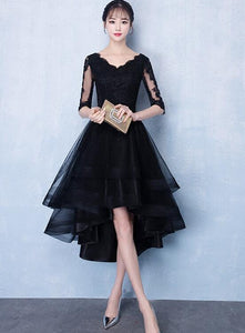 High Low Black V-neckline Short Sleeves Homecoming Dress, Black Prom Dress