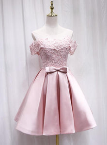 Pink Satin Off Shoulder Lace Top Homecoming Dress, Pink Gradaution Dresses