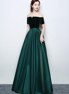 Beautiful Satin and Velvet Long Party Dress, Simple Off Shoulder Prom Dress