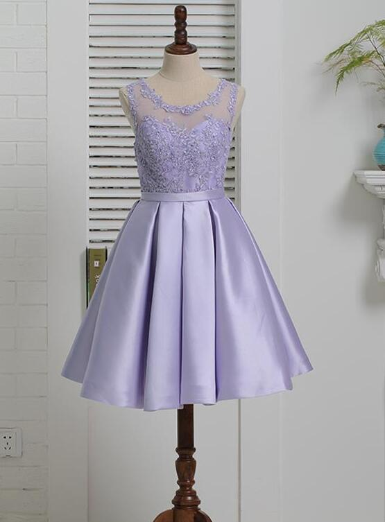 Lavender Satin with Lace Knee Length Homecoming Dress, Short Prom Dress