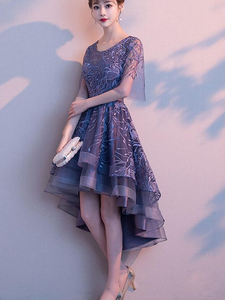 Purple High Low Lace and Tulle Round Neckline Party Dress, Short Prom Dress