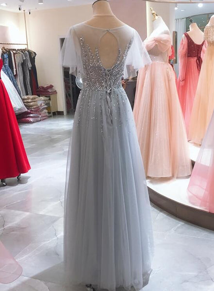 Light Blue Beaded Cap Sleeves Tulle Long Junir Prom Dress, Evening Gown Party Dress