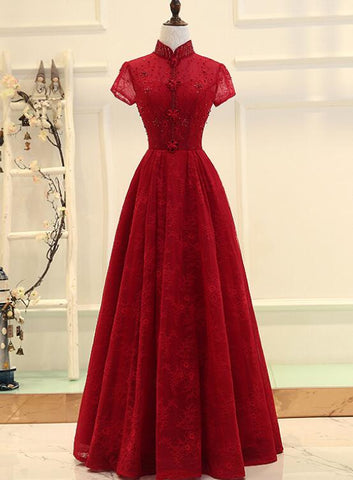 Wine Red Cap Sleeves High Neckline Long Party Dress, Lace Junior Prom Dress